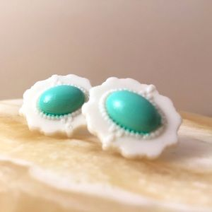 White & Tiffany Blue Oval Hand Molded Earrings